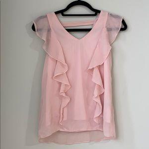 BCX Women's Pink Side Ruffle Top